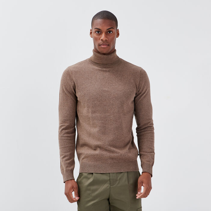 Pull manches longues marron homme