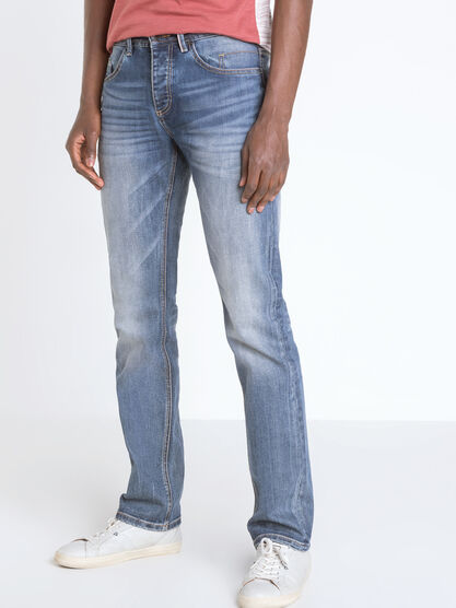 Jeans regular effet used denim stone homme