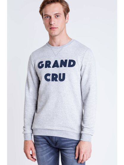 sweat col rond a message homme gris clair