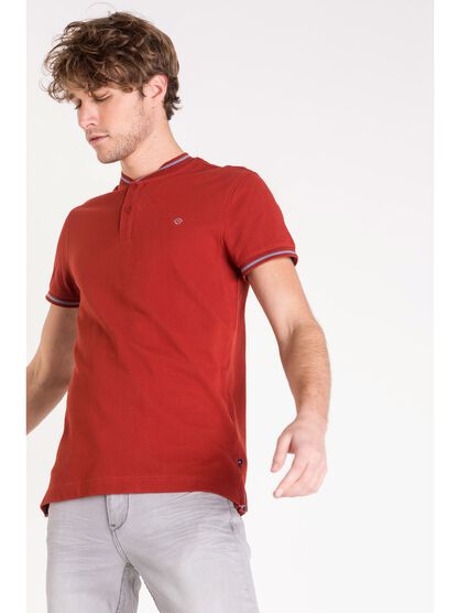 polo col montant homme uni rouge fonce