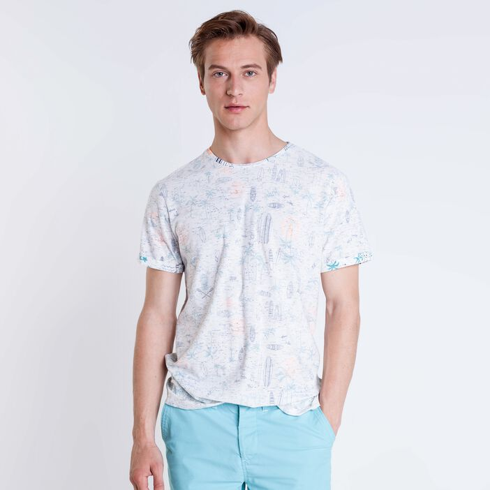 T-shirt col rond homme motif surf WHITE