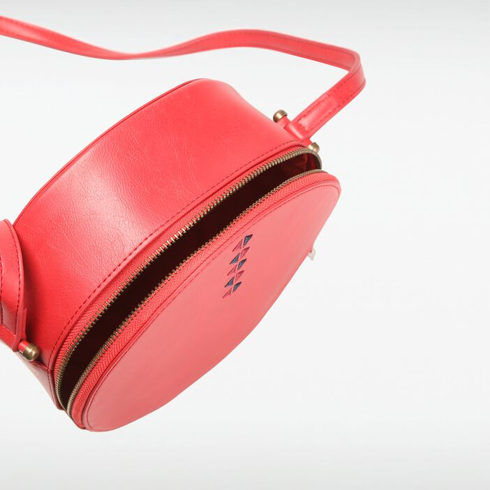 Petit sac rond broderies femme ROUGE