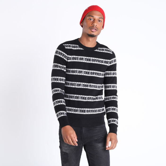 Pull manches longues col rond noir homme