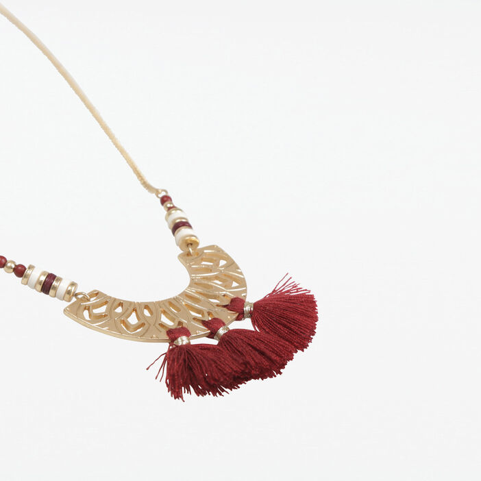 Collier pompons couleur or femme