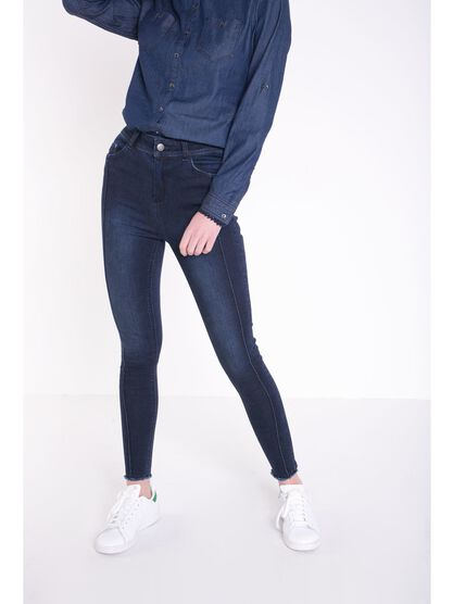 jeans skinny femme taille haute coutures denim brut