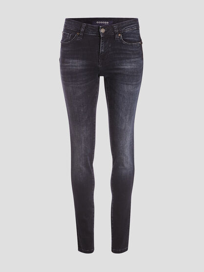 Jeans slim a details studs denim blue black femme
