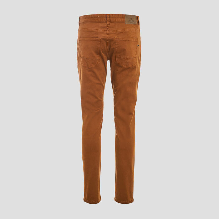 Pantalon slim 5 poches marron homme