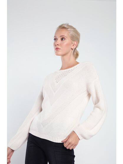 pull col rond femme maille fantaisie rose clair