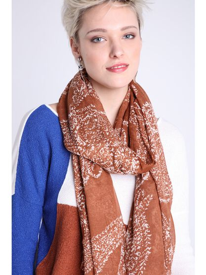 foulard fines franges orange fonce