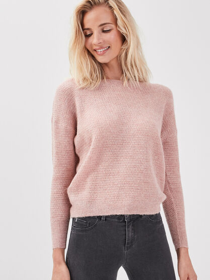 Pull manches longues vieux rose femme