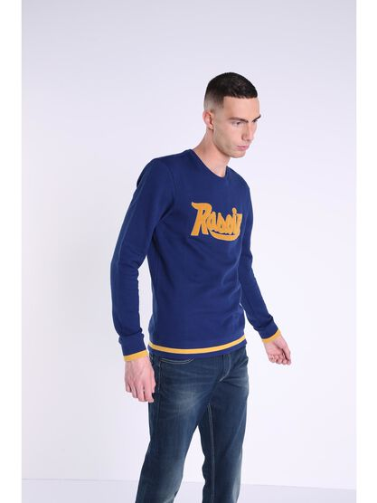 sweat col rond homme message bleu fonce