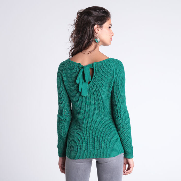 Pull manches longues noeud dos vert femme