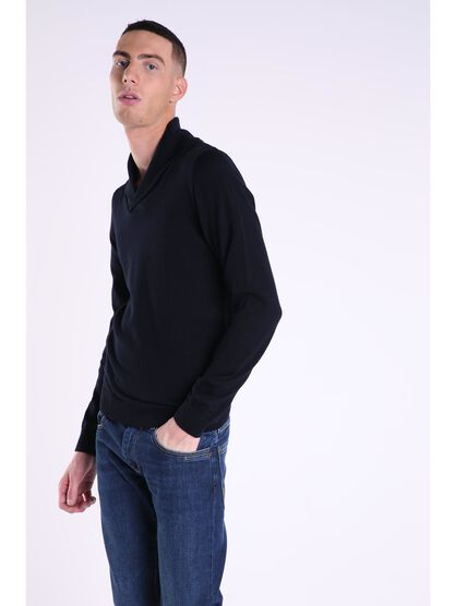 pull col chale homme maille unie bleu marine