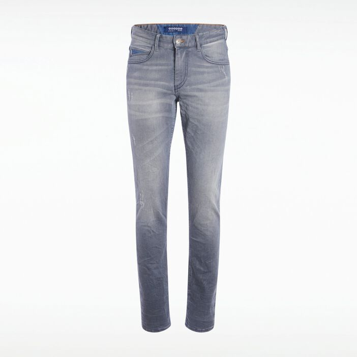 Jeans straight homme used embossage DENIM GRIS
