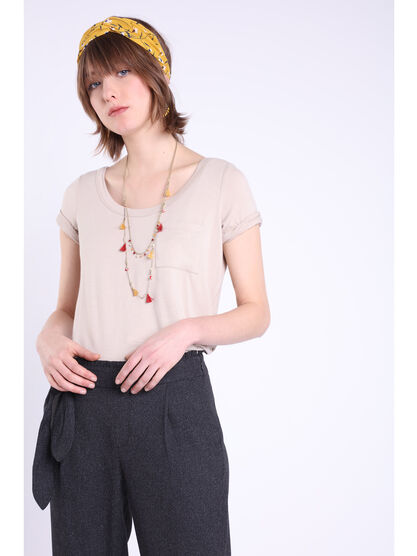 T shirt manches courtes poche taupe femme