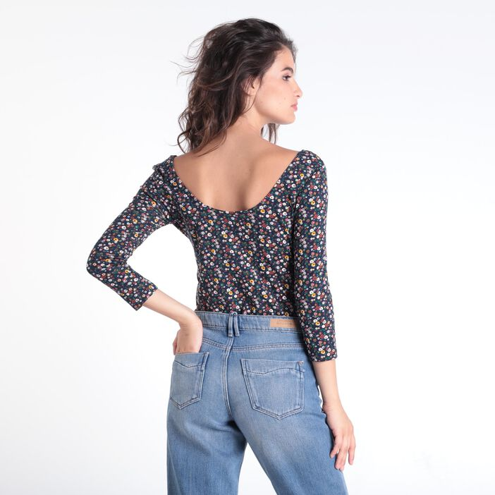 T-shirt manches 3/4 col rond multicolore femme