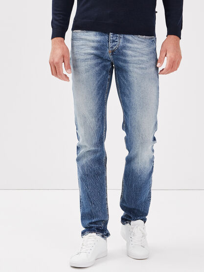 Jeans straight denim stone homme