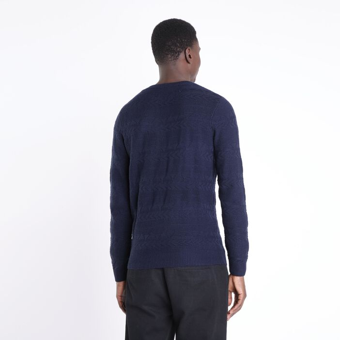 Pull manches longues col rond BLEU MARINE