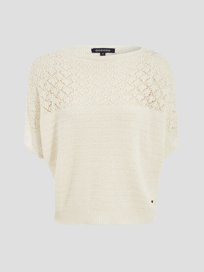 Pull manches courtes ajoure ecru femme