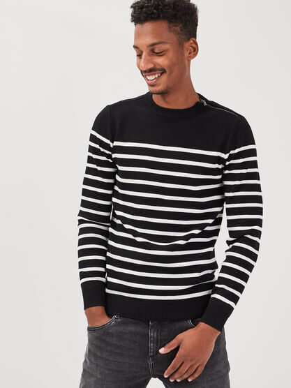 Pull manches longues noir homme