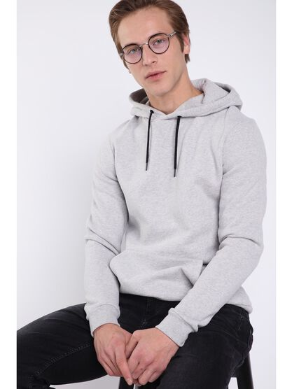 Sweat manches longues capuche gris clair homme