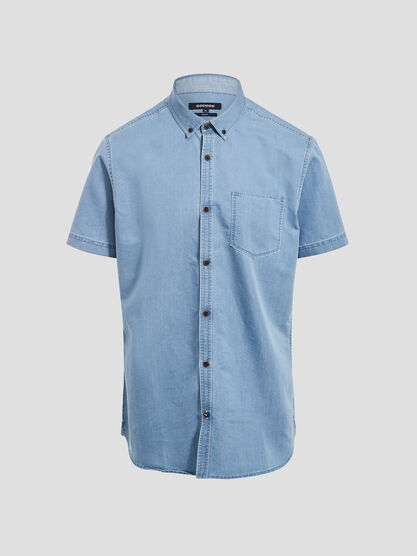 Chemise manches courtes denim used homme