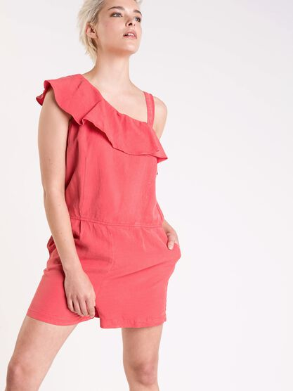 combishort one shoulder femme instinct rouge clair