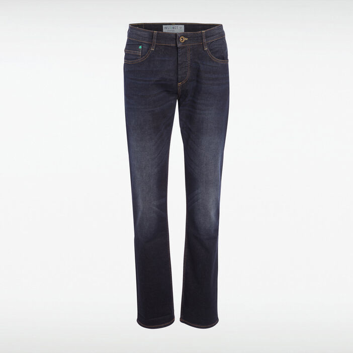 Jeans straight used coton bio denim brut homme