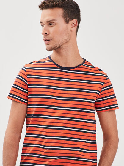 T shirt Instinct col rond orange homme