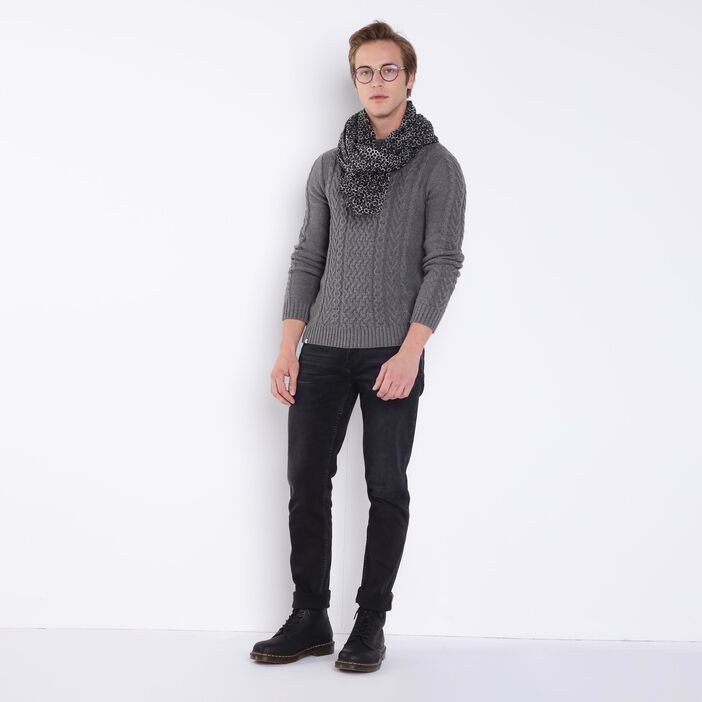 Pull manches longues maille gris homme