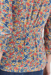 Chemise manches 34 smockee multicolore femme