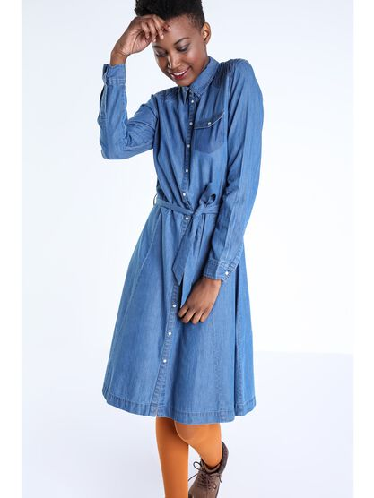 robe chemise cintree en denim femme denim stone