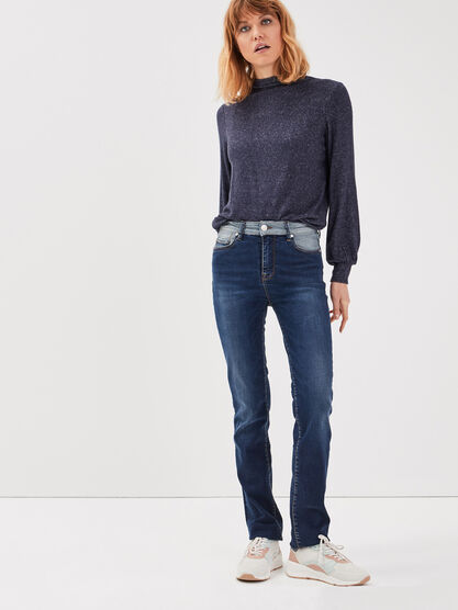 Jeans regular detail taille denim stone femme