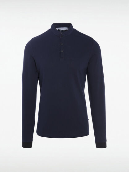 Polo manches longues col mao bleu fonce homme