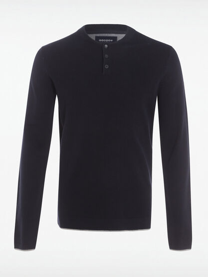 Pull col rond maille chinee bleu fonce homme