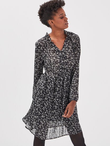 Robe evasee col a volants noir femme