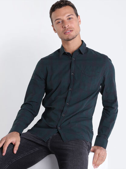 Chemise manches longues vert fonce homme