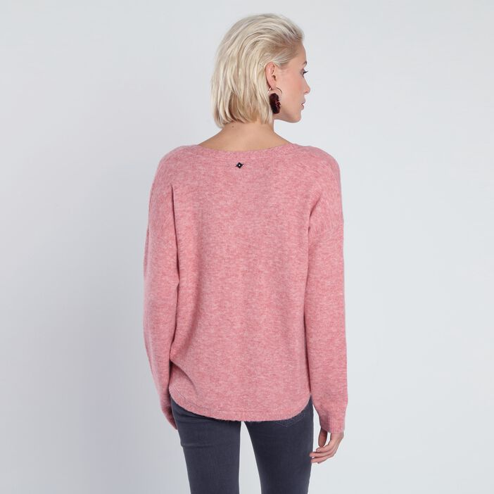 Pull manches longues maille vieux rose femme