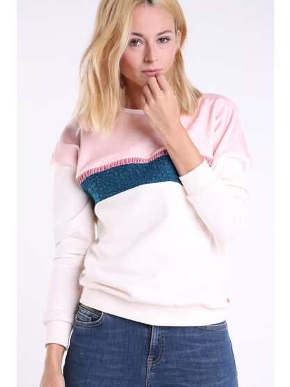sweat col rond femme a maille bouclette rose clair