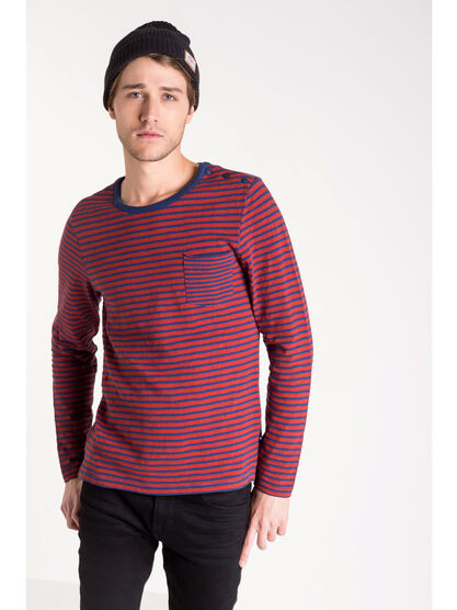 T shirt col arrondi rayures rouge fonce homme