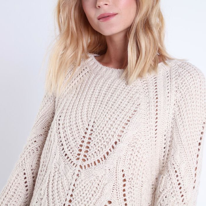 Pull col rond maille ajourée BEIGE