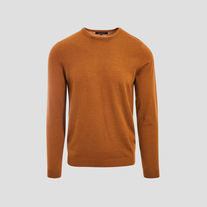 Pull col rond 100% laine merinos marron homme