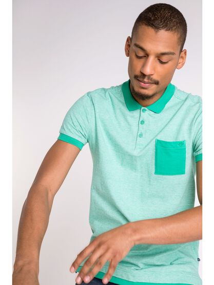 polo col simple homme 1 poche vert turquoise