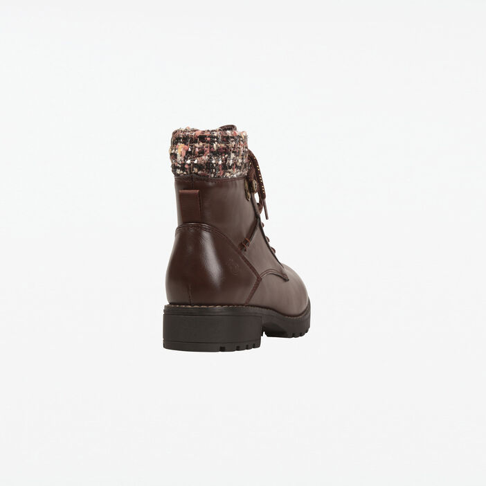 Bottines talons plats à lacets marron femme