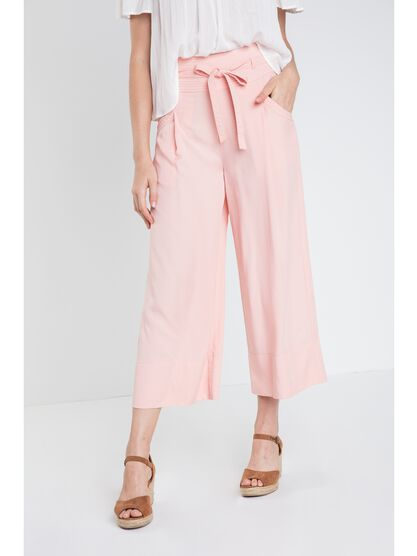 pantalon large uni femme instinct rose saumon