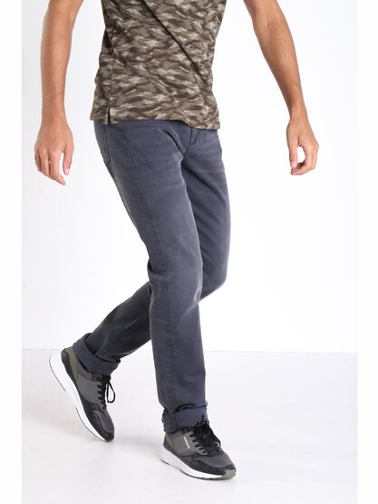 Jeans straight effet used gris fonce homme