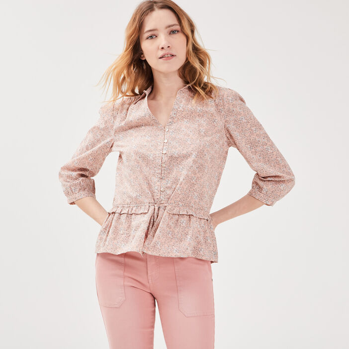 Chemise manches 3/4 rose pastel femme