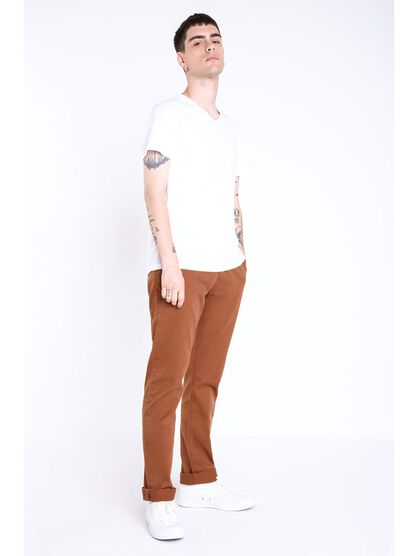 pantalon chino regular homme instinct marron