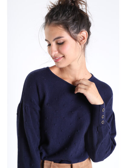 Pull manches longues a pompons bleu marine femme