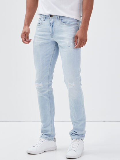 Jeans slim details destroy denim bleach homme